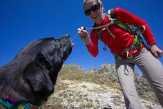Here is a good way to hydrate your pooch using an Osprey hydration pack. This photo was part of the Osprey page in our Altrec hiking book.