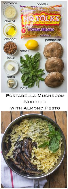 Portabella Mushroom Noodles with Almond Pesto - buttery noodles, nutty pesto, and meaty portabellas in this vegetarian comfort food. All in about 30 minutes! | littlebroken.com @littlebroken