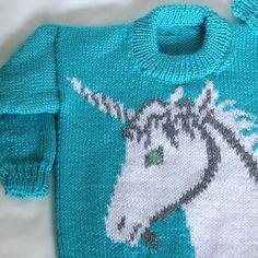 Kids Unicorn Sweater Size Childs Blue Pullover Sweater, Mint Blue Handknitted Unicorn, READY to Baby Knitting Patterns, Hand Knitting, Grey Highlights, Animal Sweater, Mint Blue, Pullover Sweaters, Children, Kids, Size 10