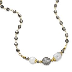 """16"""" + 2"""" Gold Tone Multistone Fashion Necklace"""