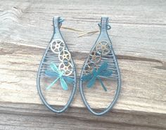 Wire Wrapped Steampunk Dragonfly Earrings, Dangle Earrings, Insect Drop Earrings, Blue Wire Earrings, Wire Wrapped Jewelry Dragonfly Jewelry - pinned by pin4etsy.com