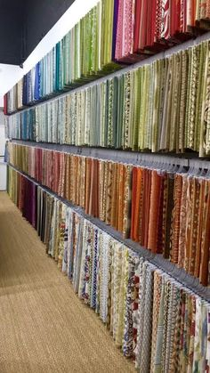 Our beautiful fabric showroom! So many choices! With any of our fabrics you can make curtains, pillows, comforters, and re-upholster and make chairs, couches, and ottomans! Come in and see for yourself and start designing. #interiordesign #homedecor