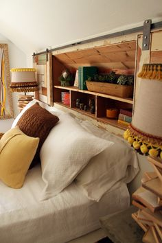This is a headboard on wheels. Great simple idea.