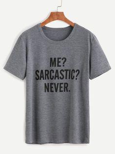 T-Shirt mit Buchstaben Druck - grau