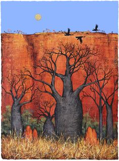 Boabs and the Termite Mounds Abstract Landscape, Landscape Paintings, Watercolor Paintings, Landscapes, Australian Painting, Australian Artists, Australia Landscape, Baobab Tree, Indigenous Art