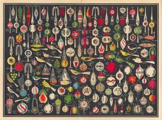 Page from a 1936 trade catalog, Erwin Geyer, Lauscha, Germany, illustrating ornaments, as well as other decorative items for Christmas.