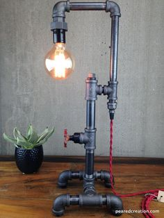 Table Lamp - Industrial Style - Iron Piping - Rustic Light Edison Table Lamp Industrial Style Iron by newwineoldbottlesEdison Table Lamp Industrial Style Iron by newwineoldbottles Industrial Floor Lamps, Industrial Table, Industrial Lighting, Industrial Wallpaper, Industrial Closet, Industrial Bookshelf, Industrial Windows, Industrial Restaurant, Industrial Apartment