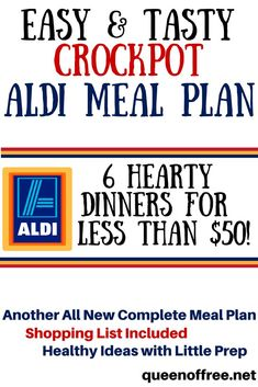 Love your slow cooker? Check out this Crockpot ALDI Meal Plan that yields six dinners for less than $50. Cheap Meals For 4, Supper Recipes, Great Recipes, Cooking On A Budget, Budgeting, Dinner Recipes