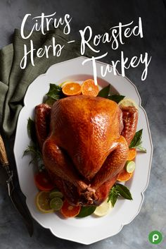 Want ideas for a new take on turkey? In 2 1/2 hours you can have this Publix recipe for Citrus Herb-Roasted Turkey on your table. This recipe gets its name from the rosemary, thyme, and sage that's mixed together into an herb butter and coats the outside of the turkey. Peeled and quartered oranges, lemons, and onions go inside the turkey with more of the herb butter. It's all roasted in a pan with chicken broth. Garnish with more lemons, oranges, and herbs, and enjoy with your family.