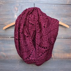 knit leaf pattern infinity scarf in burgundy