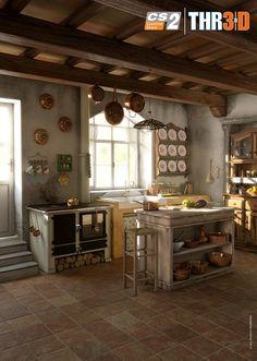 Italian rustic kitchen by Kron - Alessandro Masciari - CGHUB Stone Cottages, Italian Tiles, Kitchen Utilities, Beautiful Kitchens, Rustic Kitchen, Interior Styling, Kitchen Remodel, Sweet Home, Tuscan Kitchens