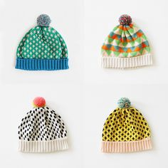 Annie Larson uses the best color and pattern combinations for her beautiful knit hats