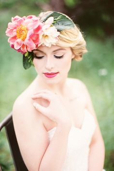 Peony Floral Crown   Jessica Scott Photography   Summer Sunshine and Citrus Wedding Inspiration in Pink and Yellow