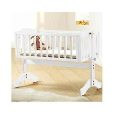 White baby crib #cradle swinging #nursery furniture #infant child bed lockable…
