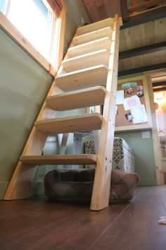 I want a ladder/stair hybrid like this! And it's from a MN tiny house!