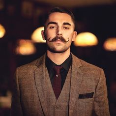 Well groomed mustache of the day @zac_ruin | photo by @iaredom - that curl is proper!   #ruwellgroomed #wellgroomed #mustache #mustachewax #dapper #suit #mensfashion #zacruin