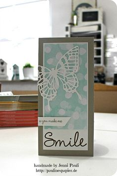 Stampin' Up! ... hand crafted card ... Auf ins neue Jahr! gute Vorsätze, ja oder nein? ... Die cut butterfly ... on bokeh background ... tall and thin format ... Smile!