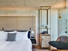 Conran and Partners creates sustainable luxury hotel in Amsterdam Custom & DIY Minibar Design Inspirations and Ideas for your Mancave Room, Room Design, Hotel Bedroom Design, Hotel Interiors, Luxurious Bedrooms, Guest Room Design, Hotel Room Design, Modern Luxury Bedroom Furniture, Hotels Room
