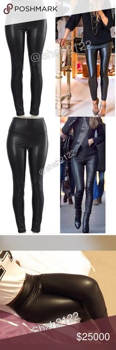 """Black faux leather high waist leggings pants slick ❌PRICE IS FIRM UNLESS BUNDLED❌.    Black Sexy Slick Faux leather look leggings. Perfect fit. High waist. Medium weight, Stretchy, perfect matte faux leather look finish .Fabric Content : Polyester + spandex. Measurements laying flat Un stretch. (Inseam = 27-28"""") (Total Length= 38-40"""") (Front Rise = 13"""") (Back Rise =15"""")  (Small Waist =12-14"""") (Medium Waist =13-15"""") (Large Waist =14- 16 """" ) Price is firm unless bundled Boutique Pants Leggings"""