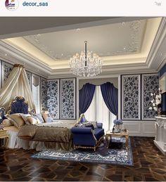 غرفة نوم Flat Interior, Luxury Homes Interior, Luxury Home Decor, Home Interior Design, Bedroom False Ceiling Design, Master Bedroom Design, Mansion Bedroom, Traditional Bedroom, Dining Room Design