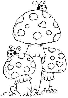 Mushroom Drawing, Mushroom Art, Art Drawings For Kids, Easy Drawings, Coloring Book Pages, Printable Coloring Pages, Hand Embroidery Designs, Embroidery Patterns, Digi Stamps