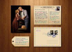 Invitație tip carte poștală, format A6 (105 x 148 mm). Include și plic personalizat.