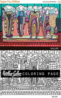 70% Off Today- Dental coloring, Dentist Teeth Tooth Anatomy coloring book, adult coloring book, coloring pages, adult coloring pages, printa