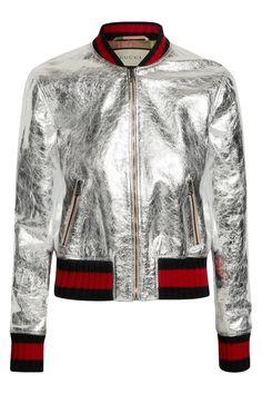 Gucci   Metallic leather bomber jacket   NET-A-PORTER.COM