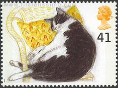 UK--Cats Stamp Fred (black and white cat). Why am I putting these on the Cats board instead of Stamps? Uk Stamps, Postage Stamp Design, Dog Poster, Cat Cards, Vintage Stamps, White Cats, Mail Art, Stamp Collecting, Pet Birds