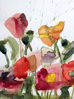 Poppies no. 16 Original Floral Watercolor by prattcreekart on Etsy
