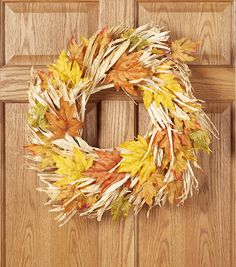 Fall Wreath | Fall For All Yellow & Orange Maple Leaves Ornament Husk Wreath