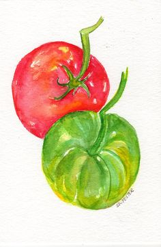 Tomatoes Original Watercolor Painting, Small Fruit Painting, Food Kitchen decor, wall art, 5 x 7 watercolor art, SharonFosterArt by SharonFosterArt on Etsy