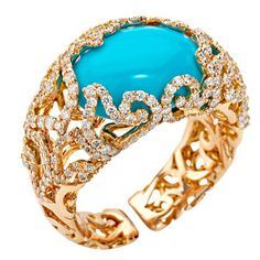Chantecler of Capri Turquoise and Diamond Ring | From a unique collection of vintage fashion rings at http://www.1stdibs.com/jewelry/rings/fashion-rings/
