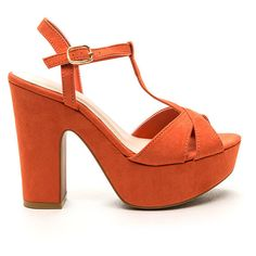 Heightened Awareness Faux Suede Heels ORANGE ($28) ❤ liked on Polyvore featuring shoes, sandals, orange, criss-cross sandals, platform sandals, orange sandals, high heel sandals and t strap sandals