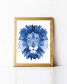 Polygon Lion Wall Art PRINTABLE Geometric Lion Print. Lion Art Print Printable Polygonal Lion Print. Geometric Animals Wall Art. Polygon Animals Printable. Blue Lion Print. Lion Poster Printable. Polygon Wall Art. Polygon Poster. Lion Head Print. Lion Poster Print.