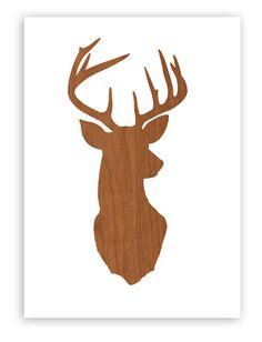 Deer Head Print Silhouette - Faux Wood Grain Faux Bois on White Background - Deer Oh Deer -  11x14 inch Stag Antlers Wall Mount