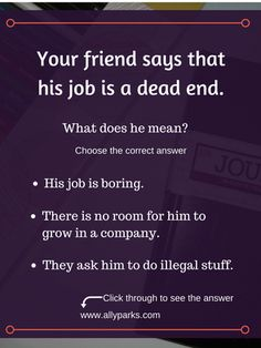 English expressions and phrases in real life situations.http://www.allyparks.com/english-blog/dead-end define a dead end, a dead end meaning, English speaking, English conversation, spoken English, esl, efl, English, Inglês, inglés, английский язык, ingles, английские