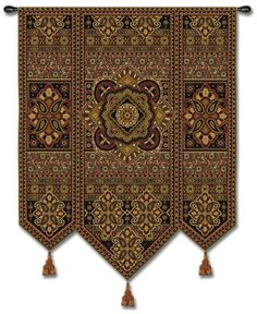 EASTERN MOTIF WITH TASSELS ART TAPESTRY WALL HANGING 53x67 #PCW
