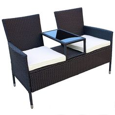 Easy to clean and comfortable Polyrattan Garden Seat for Two with Integrate
