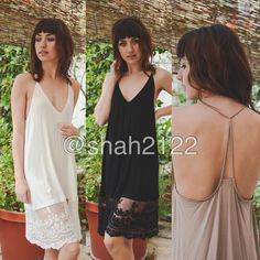 "Lace tunic top midi slip dress extender Tback Cami Retail Brand new without tags...Add some length to short mini dress or top tunic sweater with this beauty. Lace Cami extender slip dress tunic top. can be used as a slip dress or for layering .  👉2 colors to choose from BLACK, OR IVORY.                                          👉measurements ⭐️S : armpit to armpit :15"" and length is 35"" ⭐️M :armpit to armpit :16"" and length is 35.5 ⭐️L  : armpit to armpit :18"" and length is 36 Dresses Midi"