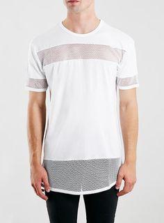 White Mesh Long Line Fit T-Shirt