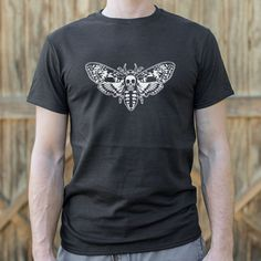 Mens Death's Head Moth T-Shirt - Gab Gifts Enjoy some fava beans and a nice chianti whilst donning this tee. Designed an. Horror Shirts, Deaths Head Moth, Movie Tees, Long Sleeve Henley, Henley Shirts, Hoodies, Sweatshirts, Trendy Outfits, Graphic Tees