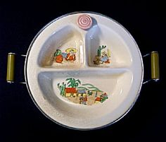 Chrome and Porcelain 1930s Childs Covered Feeding Dish with Mexican Southwestern Theme (Image1)