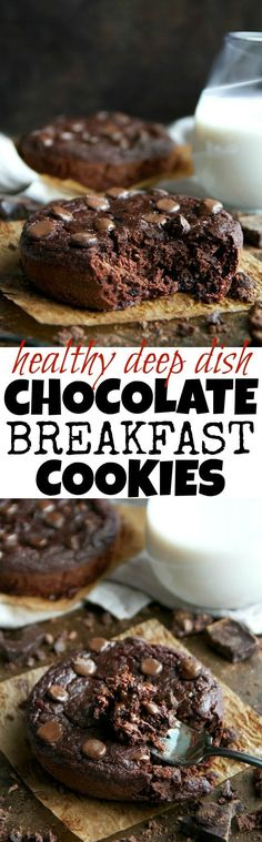 Ooey, gooey, soft, and chewy! These Deep Dish Double Chocolate Breakfast Cookies are the epitome of dessert for breakfast. Chocolatey and decadent, but made with healthy and wholesome ingredients | runningwithspoons... #vegan #glutenfree #recipe