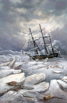 This is either the HMS Erebus or the HMS Terror, a century exploration vessel. Both these ships left England on the ill-fated Franklin Expedition in Sir John Franklin hoped to navigate through the so-called Northwest Passage in the Arctic. Affirmative Action, Fantasy Landscape, Fantasy Art, Illustrations, Illustration Art, Franklin Expedition, Design Graphique, Am Meer, Tall Ships