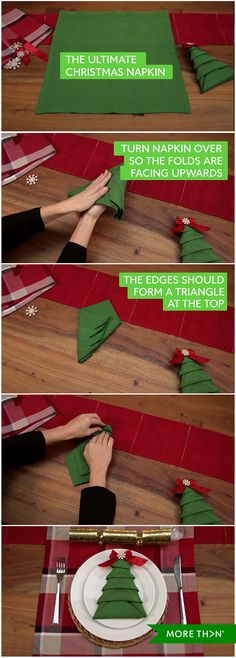 Want to impress with your Christmas table settings? Watch our step-by-step video guide below to making the ultimate Christmas tree napkin.