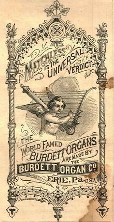 Vintage Burdett Organ Co. Ad ~ Free Old Graphics