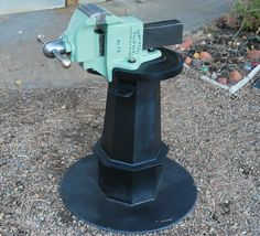 Chas Parker Wide Custom Jaws with Custom Welded Stand - Bench Vise Restoration Blacksmith Tools, Bench Vise, Garage Tools, Cool Tools, Blacksmithing, Restoration, Rock Island, Workshop, Antique Tools