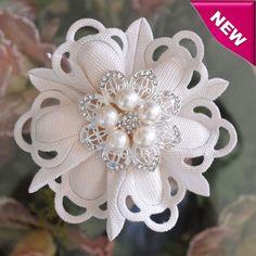 Italian Confetti Flower with Rhinestones and Pearls Brooch