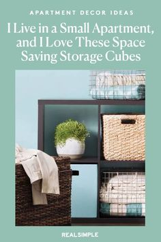 I Live in a Small Apartment, and I Swear by These Space-Saving Storage Cubes | One editor shares how affordable Target set of cube shelves are ideal for cramped dorm rooms, first apartments, kids' rooms, closets, and garages, to make organization easy and stylish. Leave them open to display objects, or buy perfectly sized baskets and bins to slide inside for makeshift drawers as a great small space solution. #decorideas #homedecor #decorinspiration #realsimple #smallspaceideas #apartmentideas